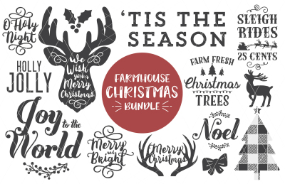 Farmhouse Christmas SVG DXF PNG Bundle