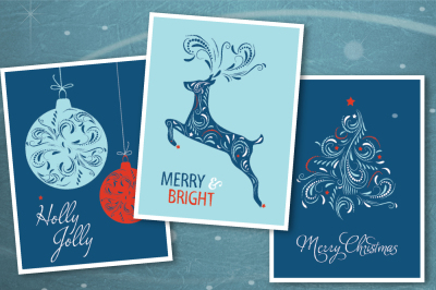 Christmas card set with vector illustrations.