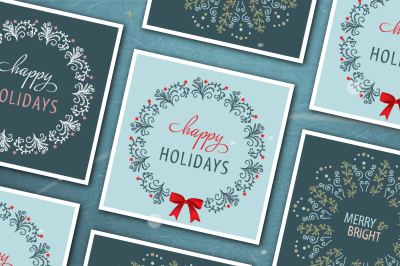Christmas card set with wreath illustrations.