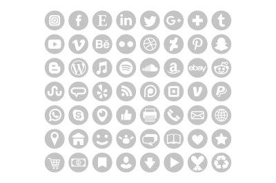 Gray Round Social Media Icons