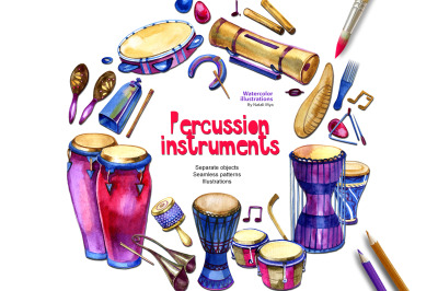 Watercolor percussion instruments