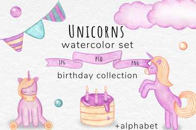 Watercolor Unicorn Set
