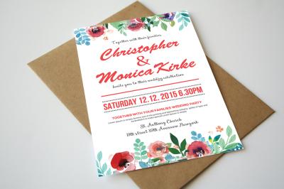 Wedding Watercolor Invitations
