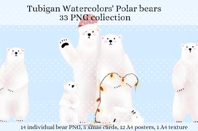 Holiday Polar Bears for Kid's room, boy or girl