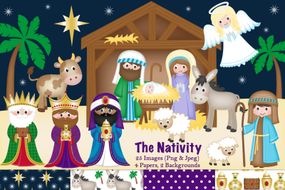 Christmas Nativity clipart, Nativity scene graphics & illustrations