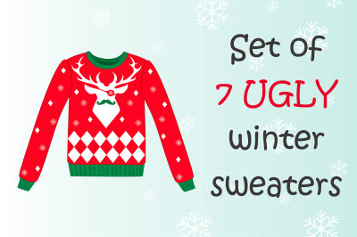 Set of 7 ugly winter sweaters