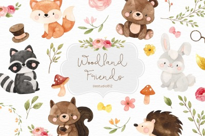 Watercolor Woodland friends