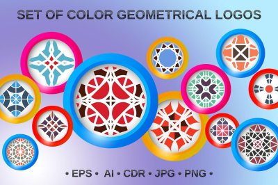 12 color geometrical logos