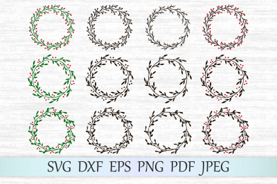 Christmas wreath svg, Holly wreath svg, Christmas svg, Xmas