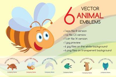 6 vector animal emblems