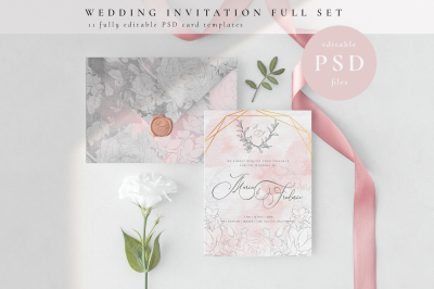 Wedding Invitation Full Set. PSD