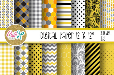 Honny bee digital paper for scrapbooking