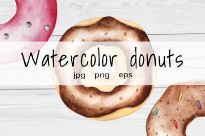 Watercolor Donuts +bonus