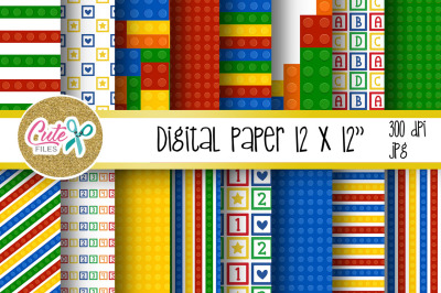 Building blocks party digital paper for scrapbooking