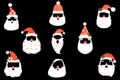 Hipster Santa face clip art set, Santa Claus mask beard hat mustache