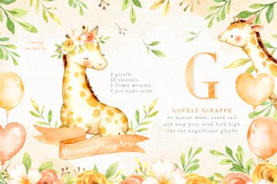 Lovely Giraffe Watercolor Clip Art