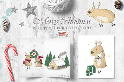 Little Christmas Cute Deer's Set