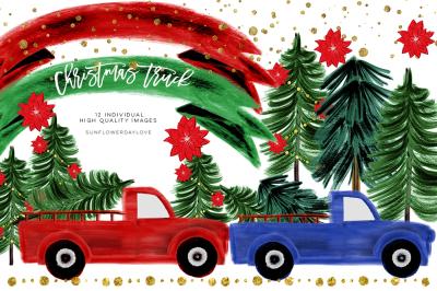 Watercolor Christmas Clipart, CHRISTMAS TRUCK clip art