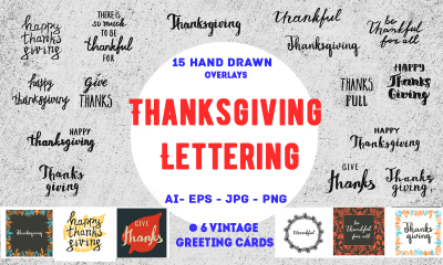 15 Thanksgiving Lettering Overlays