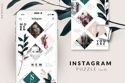 Instagram PUZZLE template - Botanical