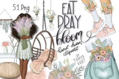 Eat Pray Bloom Graphic Design Kit