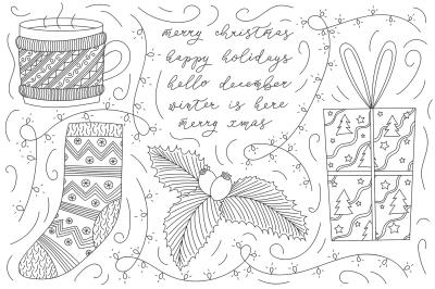 Vector Line Art Christmas Doodles
