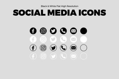 Black & White Social Media Icons