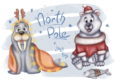North Pole Christmas set. White polar bear and walrus