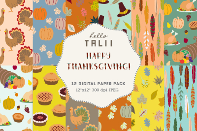 Happy Thanksgiving Digital Paper