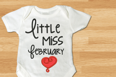Little Miss February Heart | Applique Embroidery