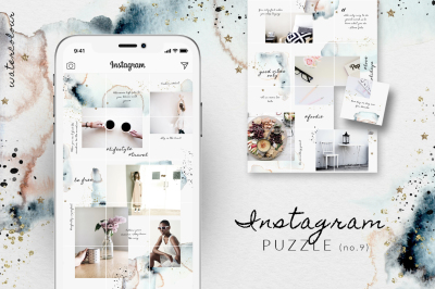 Instagram PUZZLE template - Watercolor