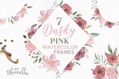 Dusky Pink Flower Frames Pretty Floral Pink Deep Red Borders Clipart