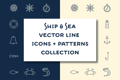15 Ship & Sea line icons + patterns