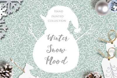 Winter snow mood. Watercolor handpainted collection.