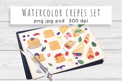 Watercolor Pancake and Crepes