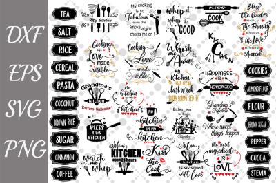 Kitchen Svg Bundle,KITCHEN LABEL SVG, Kitchen Quotes Svg