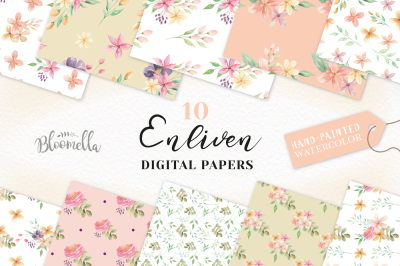 Enliven Floral Seamless Papers Digital Prints Floral Watercolor Peach