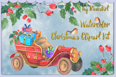 Christmas watercolor clipart vintage car with gifts and Christmas Tre