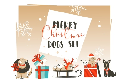 Christmas dogs set