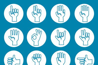 Hands gestures vector icons set blue