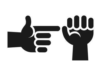 Hands showing sex gesture icon in black white