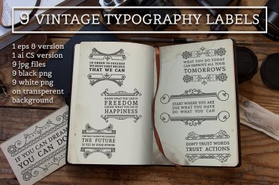 9 Vintage typography labels