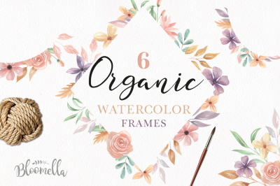 Organic Watercolor Pastel Frames Pretty Floral Borders PNG files Set