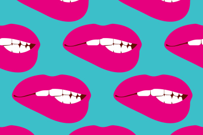 Woman biting lip vector seamless pattern