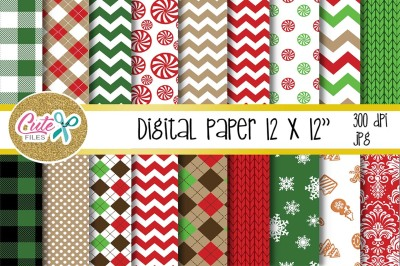 chritmas digital paper, for scrapbooking