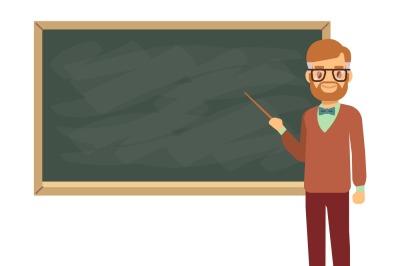 Teacher, professor standing in front of blank school blackboard vector