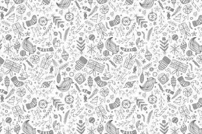 White Christmas Doodle Pattern