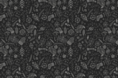 Black Christmas Doodle Pattern