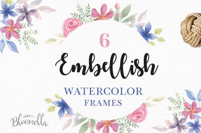 Embellish Watercolor Floral Frames Borders Painted Summer Set Clipart