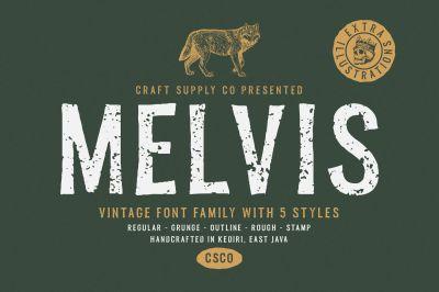 Melvis - Vintage Font Family+Extras